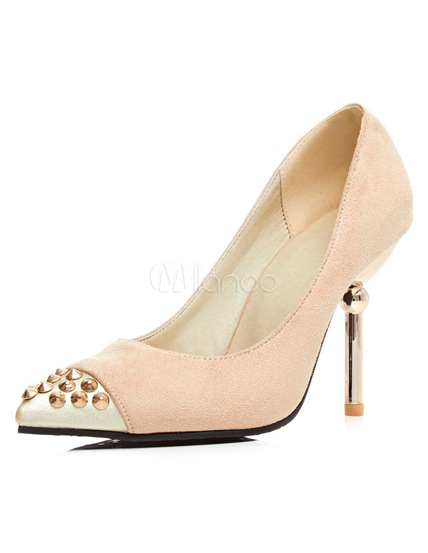 Sandales nue Rivets bout pointu Suede talons hauts pour femmes