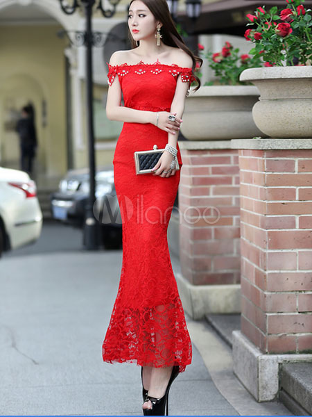 Red Maxi Dress Off-the-Shoulder Cut Out Lace Polyester Bodycon Dress Cheap clothes, free shipping worldwide