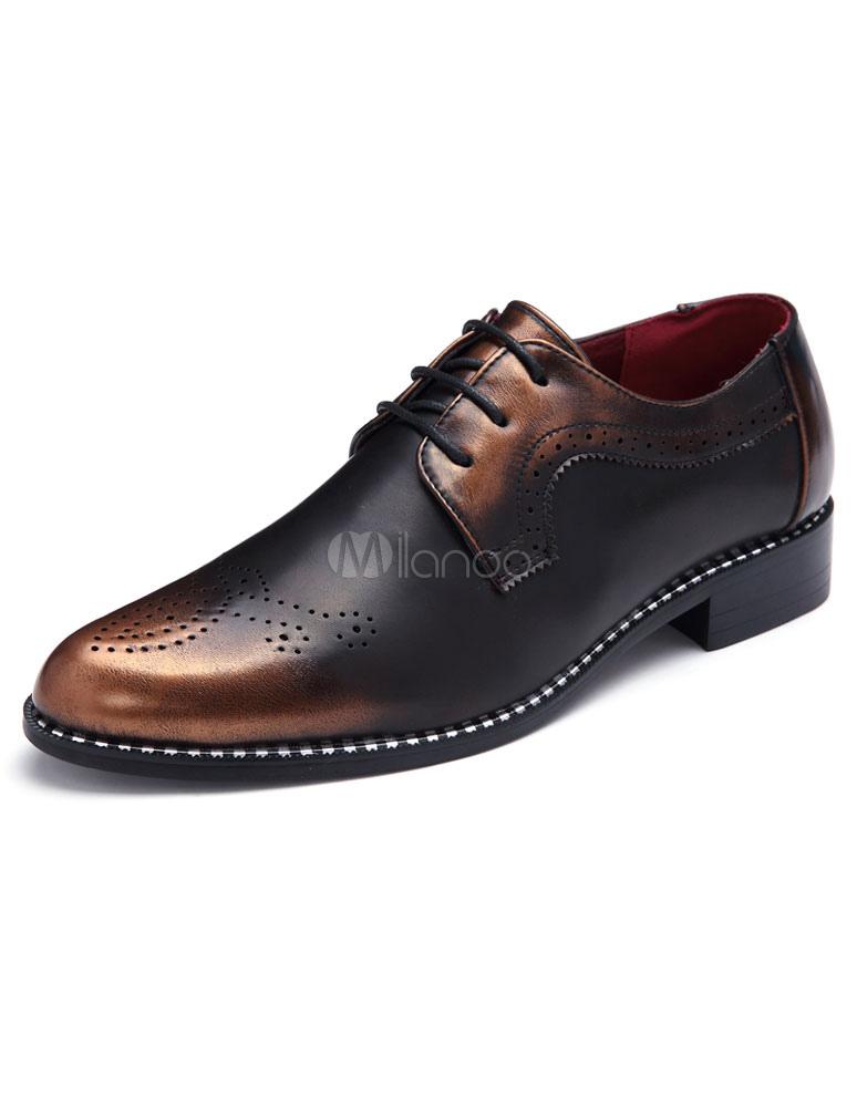 Multicolor Leather Shoes Lace Up PU Shoes for Men
