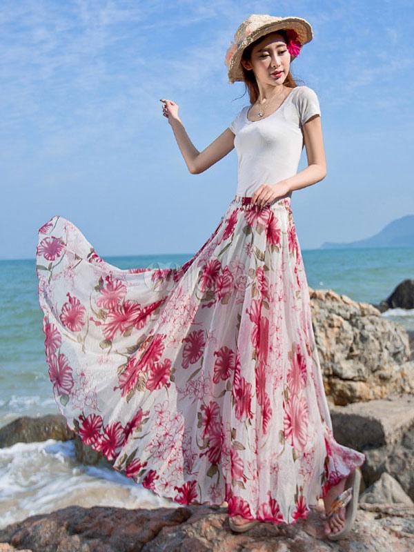 2f2bd7c4ab Rose Red Maxi Skirt Floral Print Chiffon Beach Skirt for Women-No.1 ...