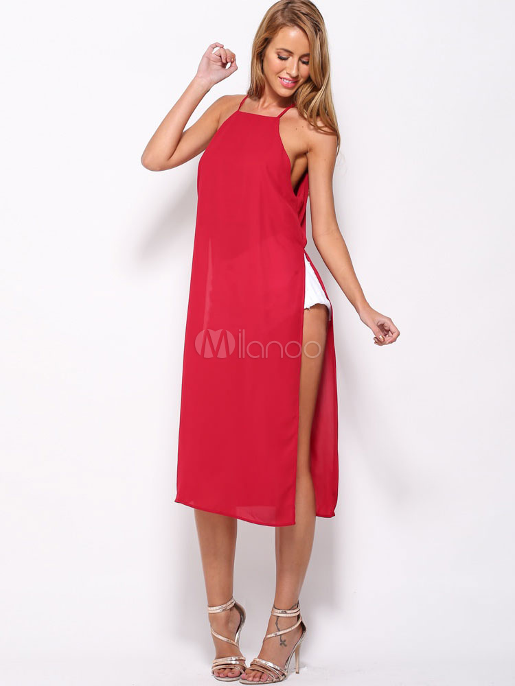 Buy Red Shift Dress Straps Split Cut Out Cotton Dress for $26.99 in Milanoo store