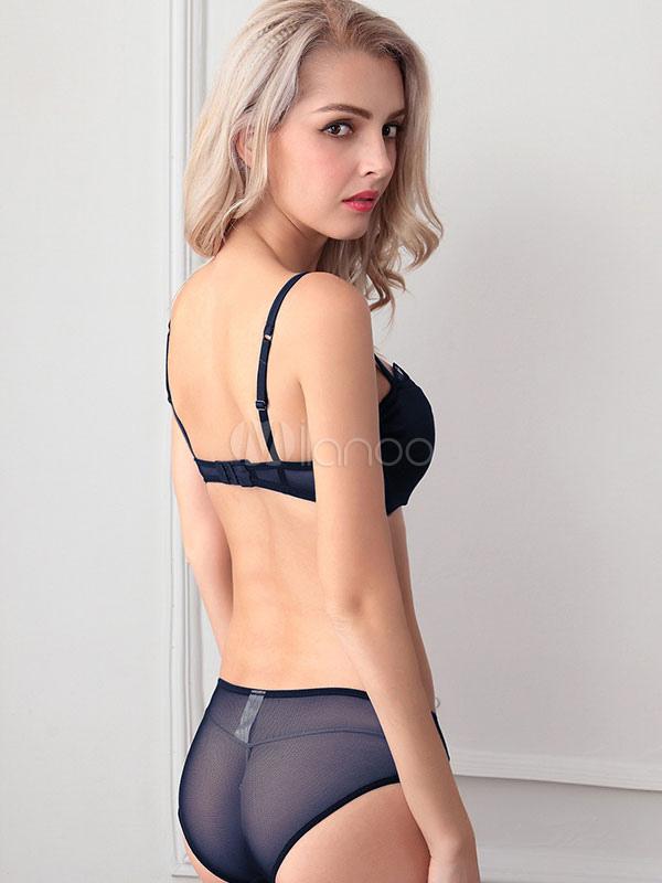 Navy Bra And Panties Lycra Lingerie Suit For Women