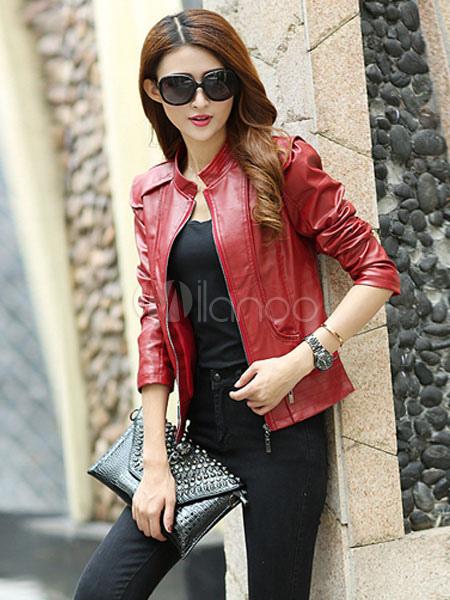 100% authentic 8ce58 61630 Rote Jacke Taschen Zipper PU Lederjacke für Frauen