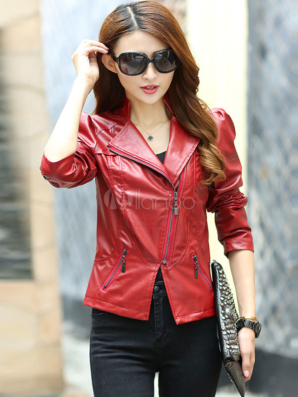 Red Jacket Split Zipper PU Leather Jacket for Women Cheap clothes, free shipping worldwide