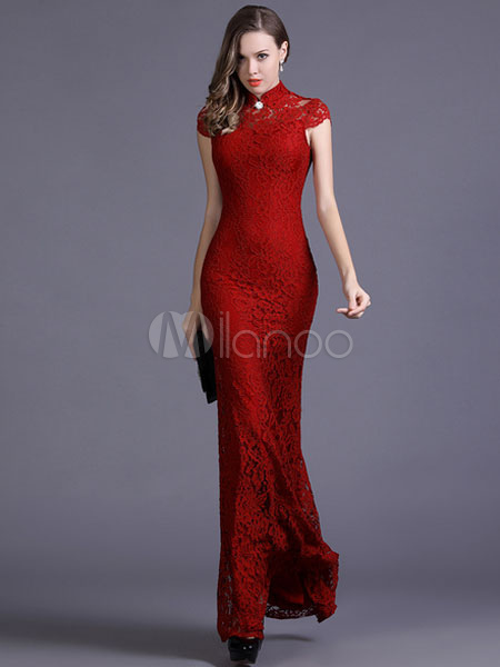 Red Mermaid Maxi Dress Cut Out Polyester Bodycon Dress