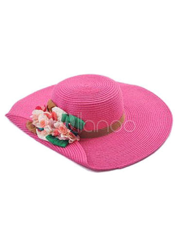 Rose Red Straw Hat Flowers Bohemian Beach Hat For Women