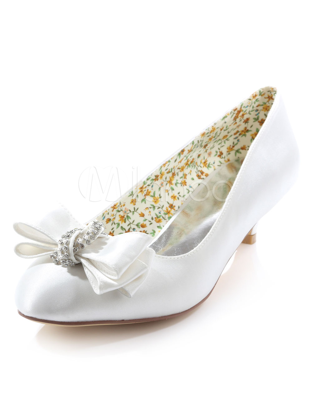 White Bridal Pumps Bow Print Rhinestone Satin Wedding Heels