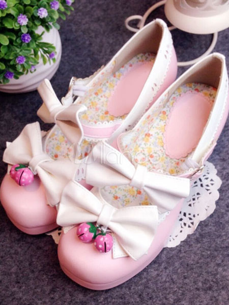 Pink Lolita Shoes Strawberry Bow PU Shoes for Women