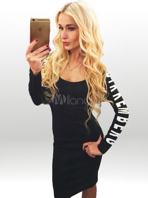 d429be95c0e4 Black Bodycon Dress Letters Print Cut Out Short Dress for Women -No.1 ...