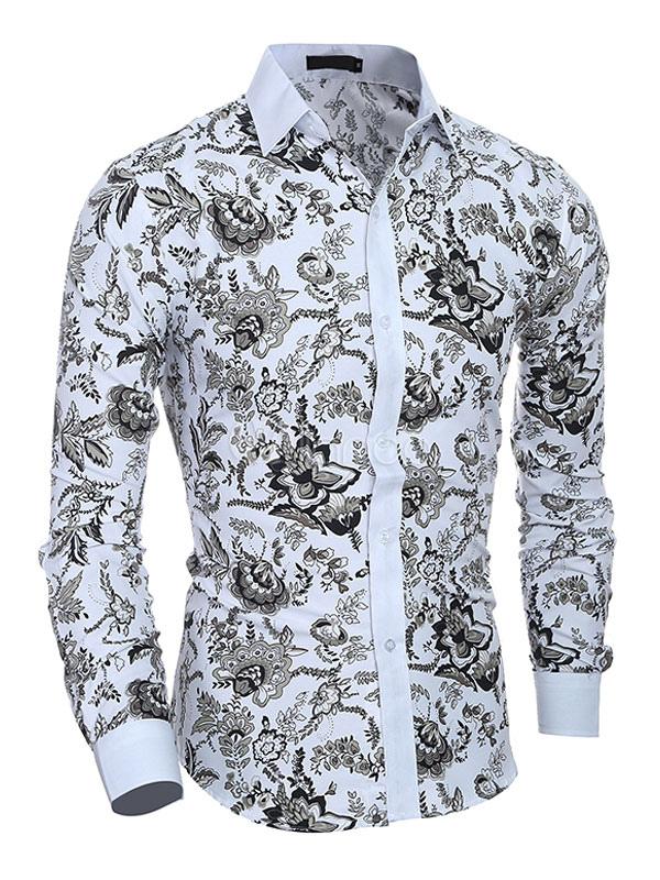 233cbedf4f1b Men Floral Shirt Print Cotton Shirt Long Sleeve Shirt Casual