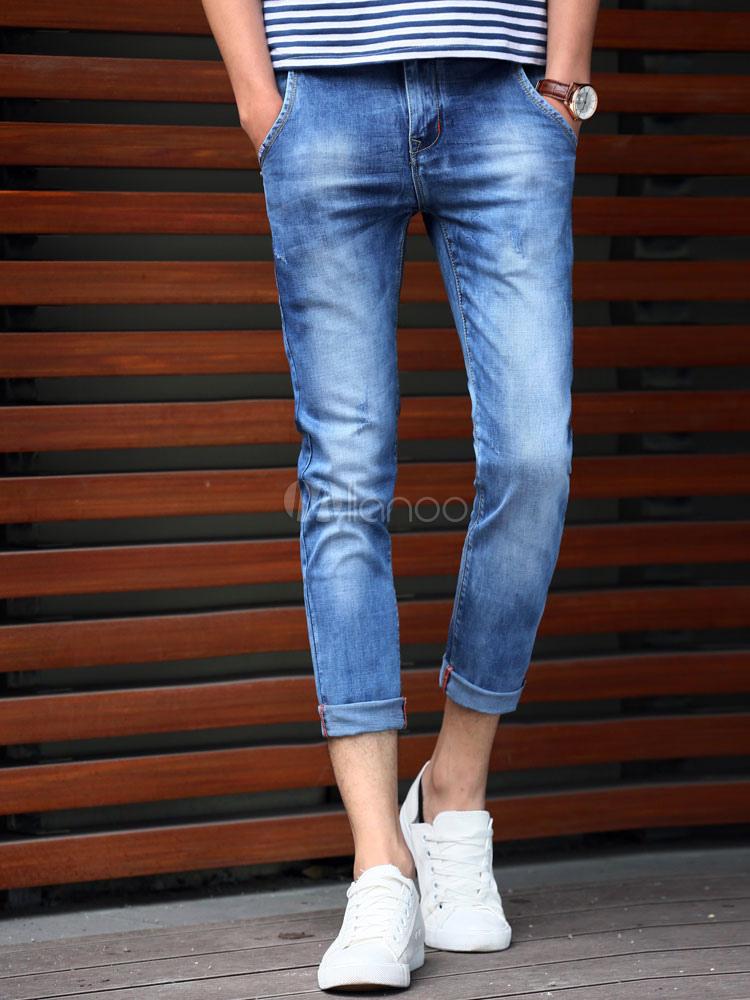 Buy Light Blue Denim Pants Straight Skinny Jeans For Men for $28.49 in Milanoo store
