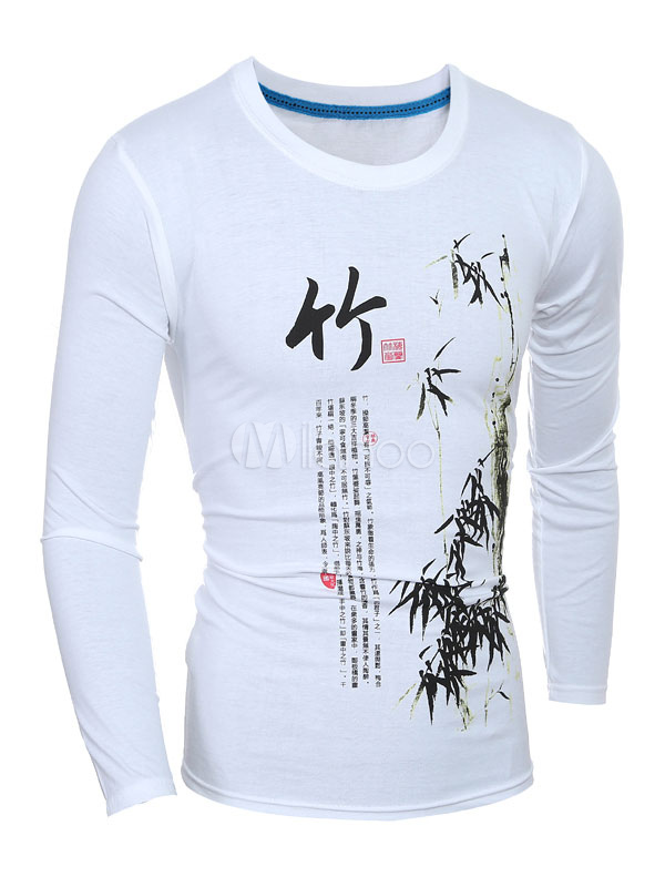 White T-Shirt Chinese Words Print Cotton T-Shirt for Men