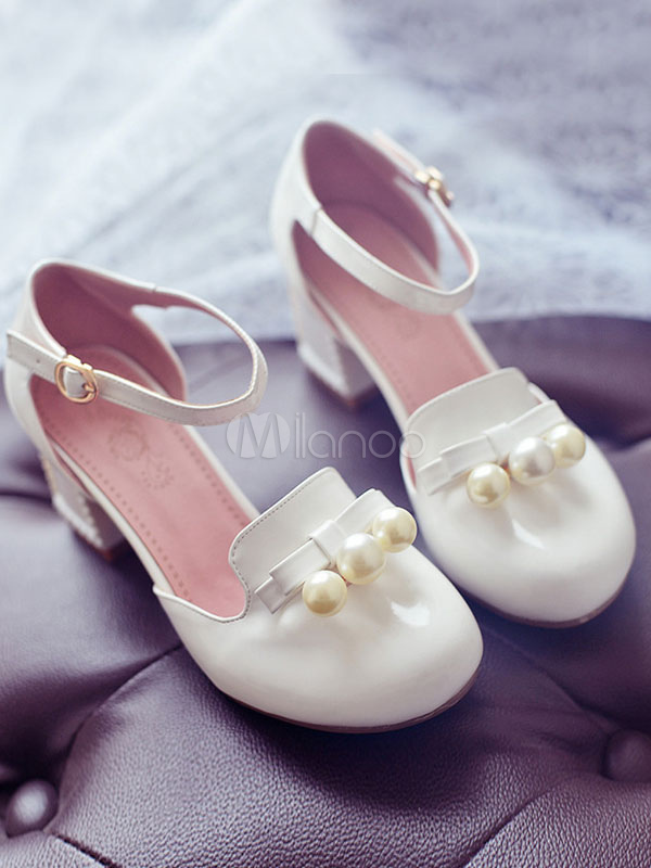 Sandalias de Lolita rosa PU arco perla tacones para mujeres CeB81B48