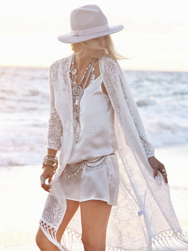 White Cover Up Fringe Lace Wadding Cover Up for Women Cheap clothes, free shipping worldwide