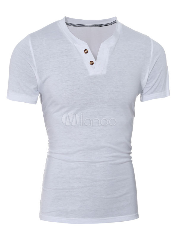 White T-Shirt Buttons Slim Fit Cotton T-Shirt for Men
