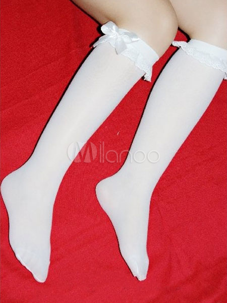 White Lolita Stockings Bow Synthetic Stockings