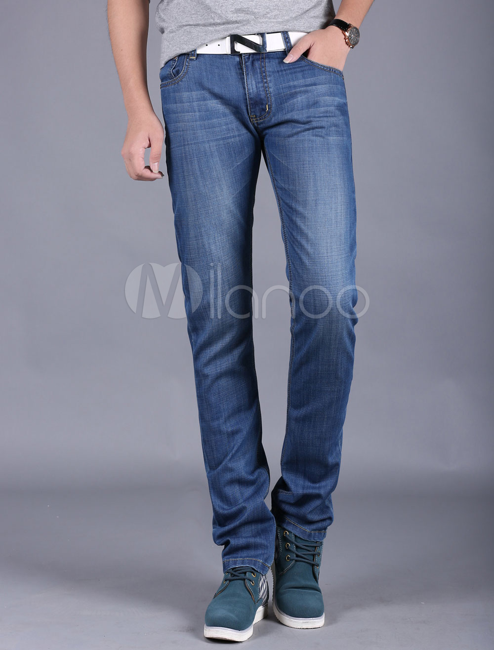Buy Blue Jeans Straight Chic Denim Slim Fit Jeans for Men for $26.59 in Milanoo store