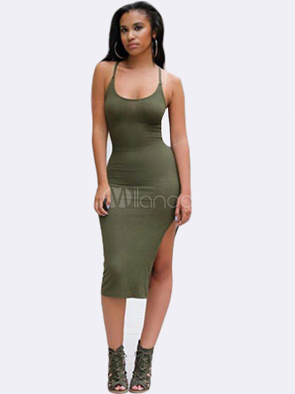 Buy Fashion Straps Neck Sleeveless Cotton Fibers Backless Club Dress for Women for $26.99 in Milanoo store