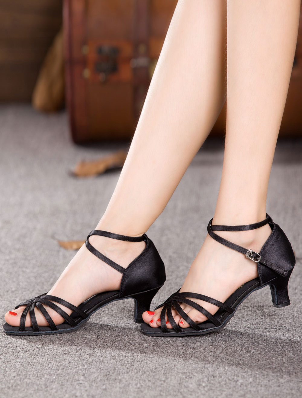 Milanoo / Black Dance Sandals Straps Satin Heels for Women