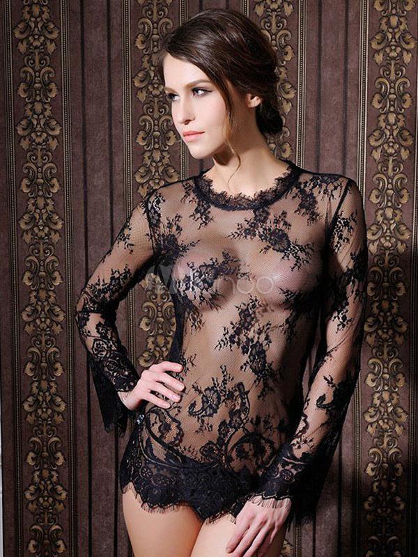 daaadddcaac4 Camisa poliester pura Babydoll de encaje negro para las mujeres-No.1 ...