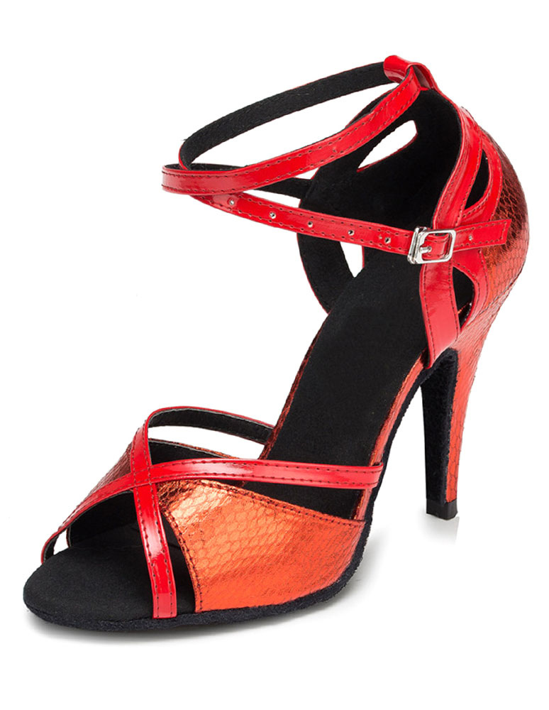 Red Dance Sandals Cut Out PU Heels for Women