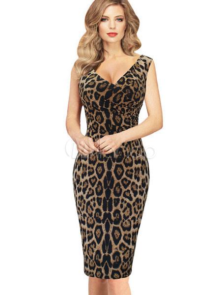 Multicolor Bodycon Dress Leopard Print Slim Fit Cotton Dress