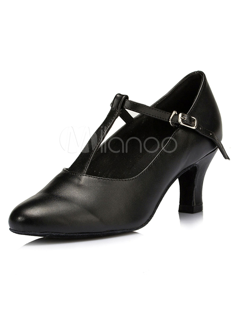 Black Dance Pumps Straps PU Heels for Women