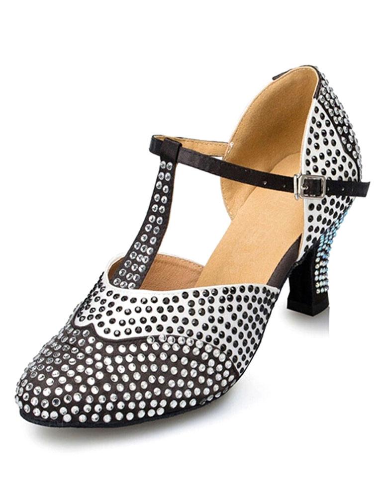Black Dance Sandals Rhinestone PU Heels for Women