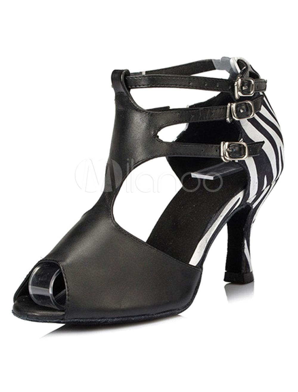 Buy Black Dance Sandals Print PU Heels for Women for $33.24 in Milanoo store