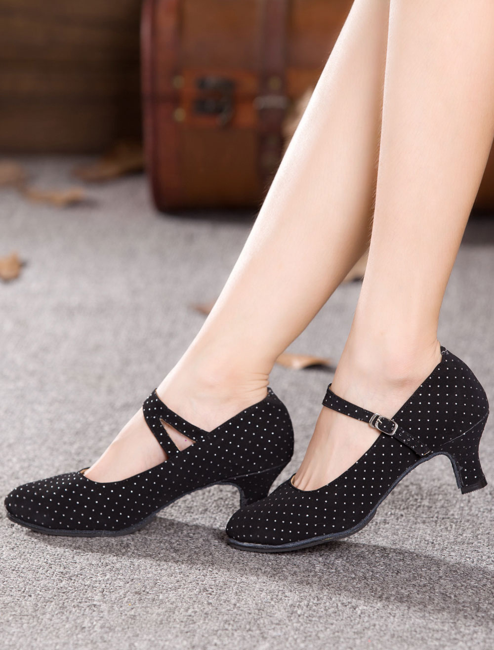 Black Dance Pumps Straps Print Suede Heels for Women