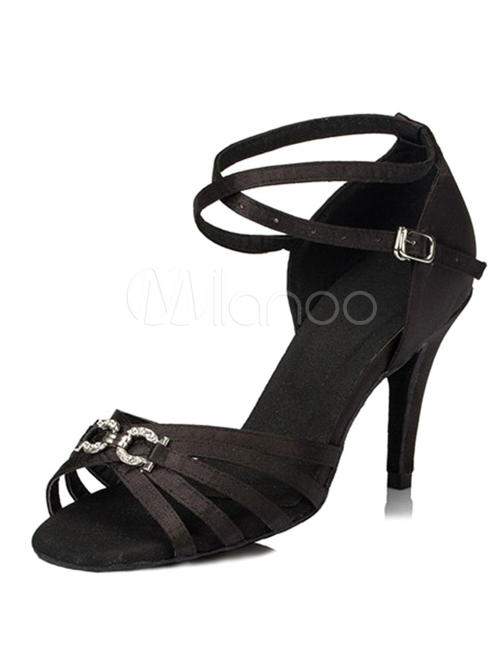 Buy Black Dance Sandals Satin Heels for Women for $28.49 in Milanoo store