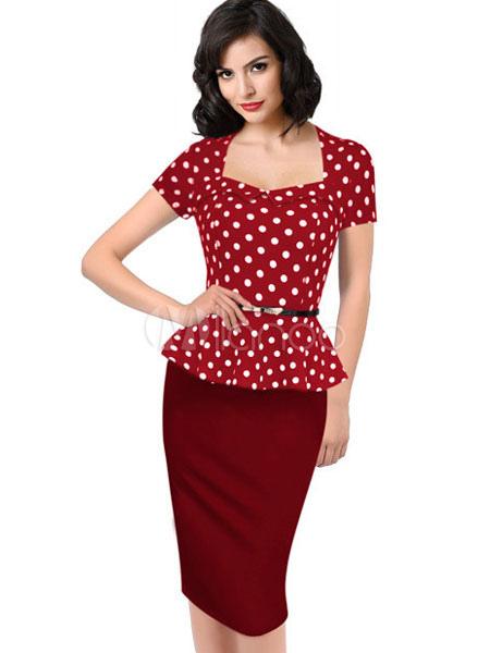 Red Bodycon Dress Polka Dot Peplum Sash Dress