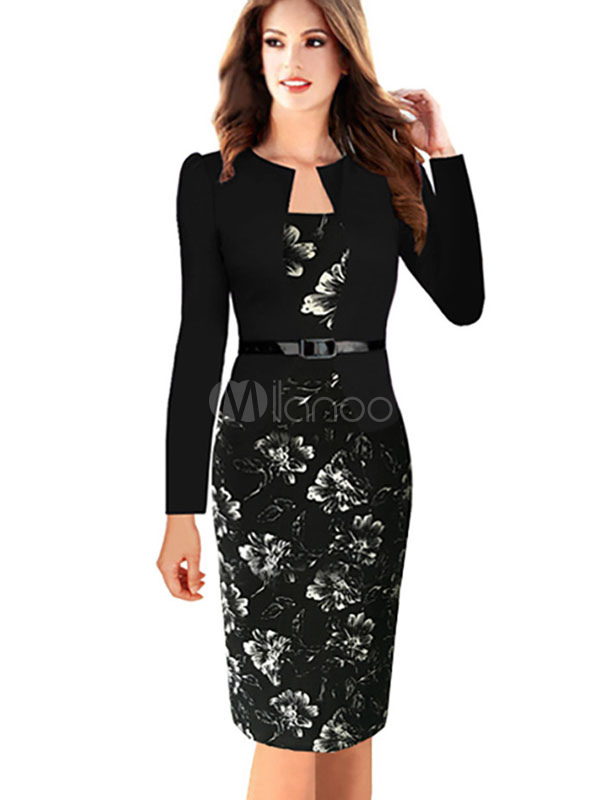 Black Bodycon Dress Floral Print Sash Cotton Dress