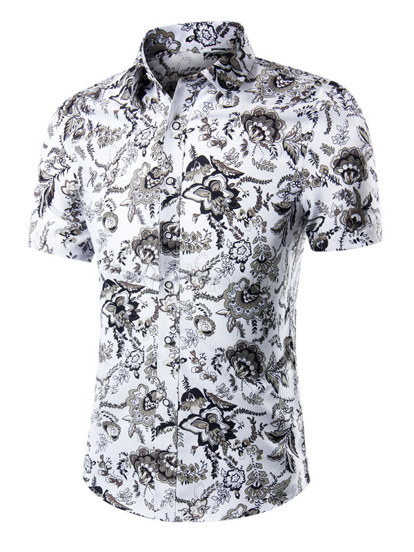 Print Shirt Multicolor Chic Short Sleeves Cotton Shirt for Men
