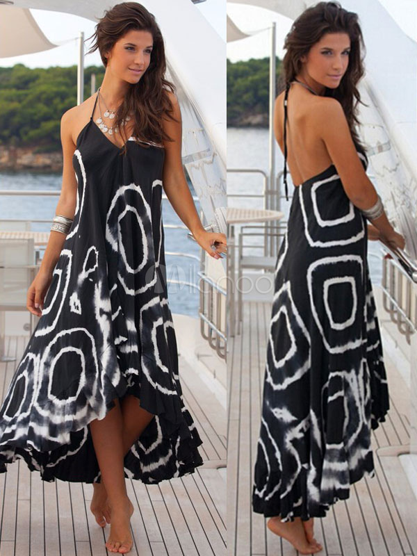Halter Straps Maxi Dress Backless High-Low Print Cotton Dress Cheap clothes, free shipping worldwide