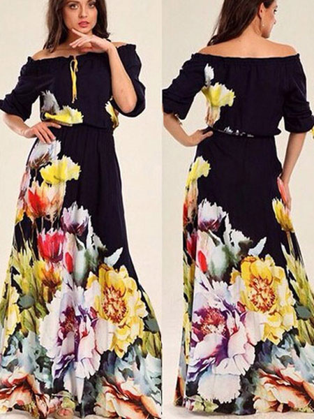 Off-The-Shoulder Maxi Dress Floral Print Cotton Satin Dress Cheap clothes, free shipping worldwide