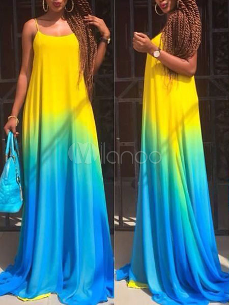 Ombre Maxi Dress Straps Multicolor Cotton Summer Dress Cheap clothes, free shipping worldwide