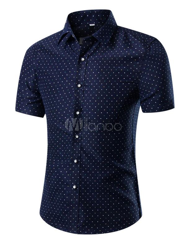 Navy Print Shirt Cotton Casual Shirt for Men