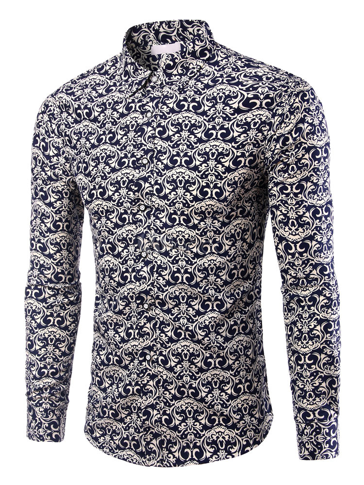 Men Casual Shirt Print Regular Fit Long Sleeve Shirt