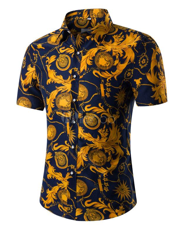 Floral Print Shirt Multicolor Short Sleeves Cotton Shirt for Men