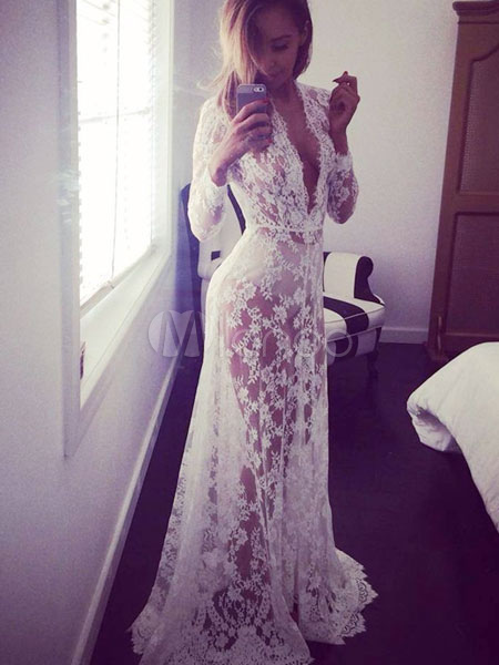 Lace Cut Out Maxi Dress White Sheer Slim Fit Club Dress Cheap clothes, free shipping worldwide