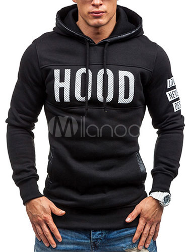 Letters Print Hoodie Black Cotton Slim Fit Hoodie for Men