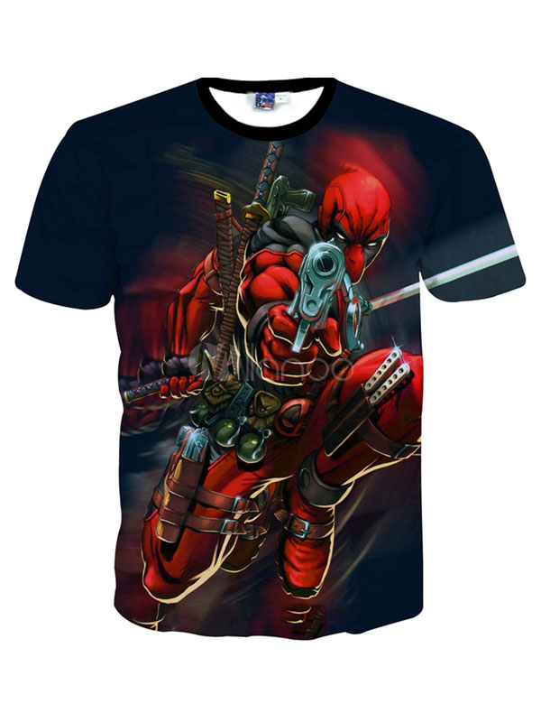 Buy Red Crewneck Print Short Sleeves Cotton Blend Printed Handsome Men's Tee Shirt for $12.74 in Milanoo store