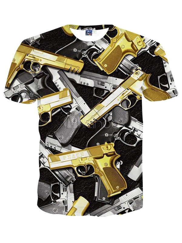 Buy Handsome Gold Print Short Sleeves Crewneck Printed Cotton Blend Cool Men's T-Shirt for $11.99 in Milanoo store