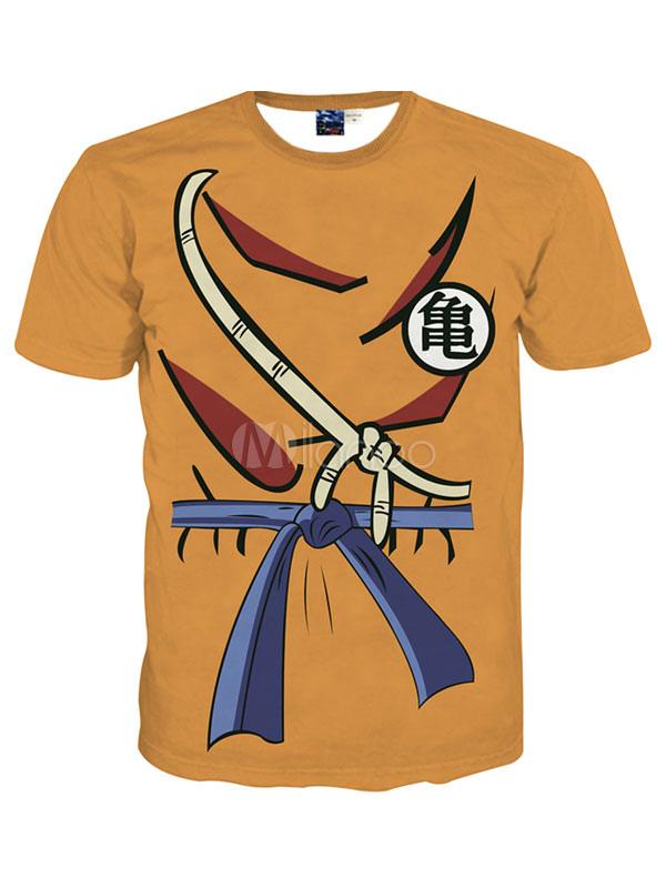 Buy Orange Short Sleeves Crewneck Print Printed Cotton Blend Handsome Cool Men's T-Shirt for $12.74 in Milanoo store
