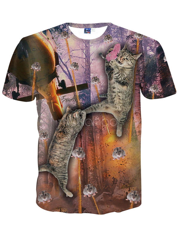 Buy Handsome Blonde Print Short Sleeves Crewneck Printed Cotton Blend T-Shirt For Man for $12.74 in Milanoo store