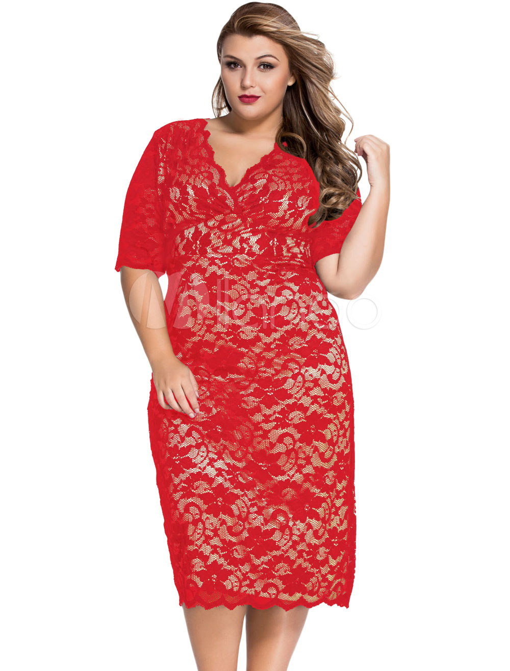 Red Plus Size Dress Lace Midi Knee-Length Dress Cheap clothes, free shipping worldwide