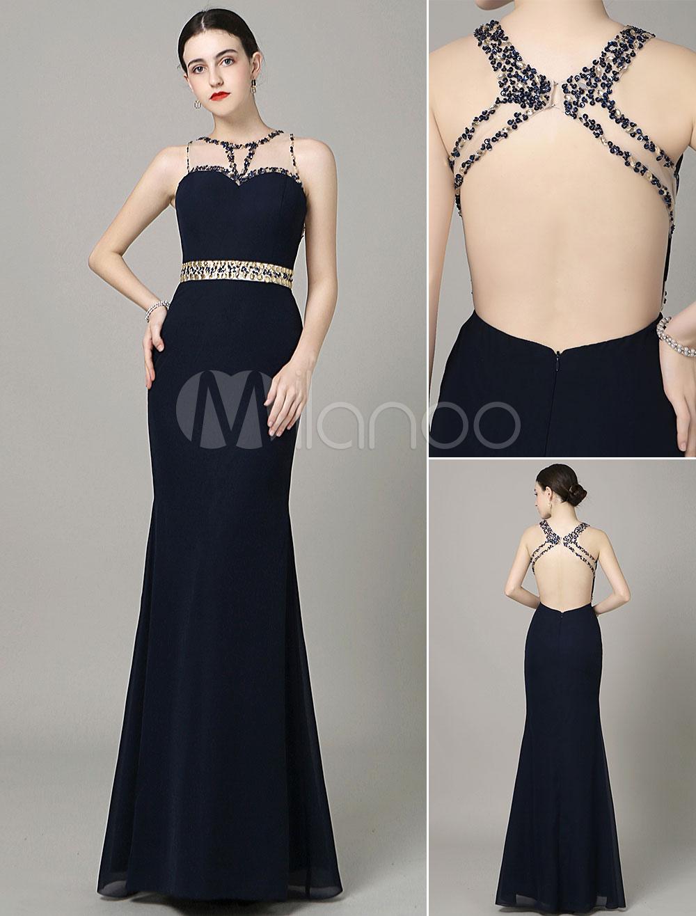 Backless Prom Dress Illusion Neck Cut Out Beading Navy Chiffon Floor-Length Mermaid Evening Dress Milanoo