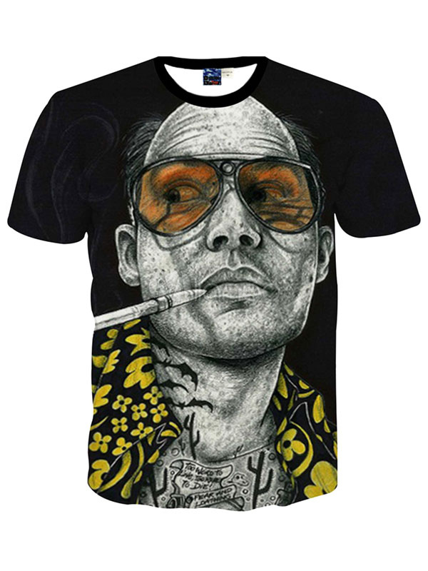 Buy Black Short Sleeves Crewneck Print Printed Cotton Blend Handsome T-Shirt For Man for $12.74 in Milanoo store