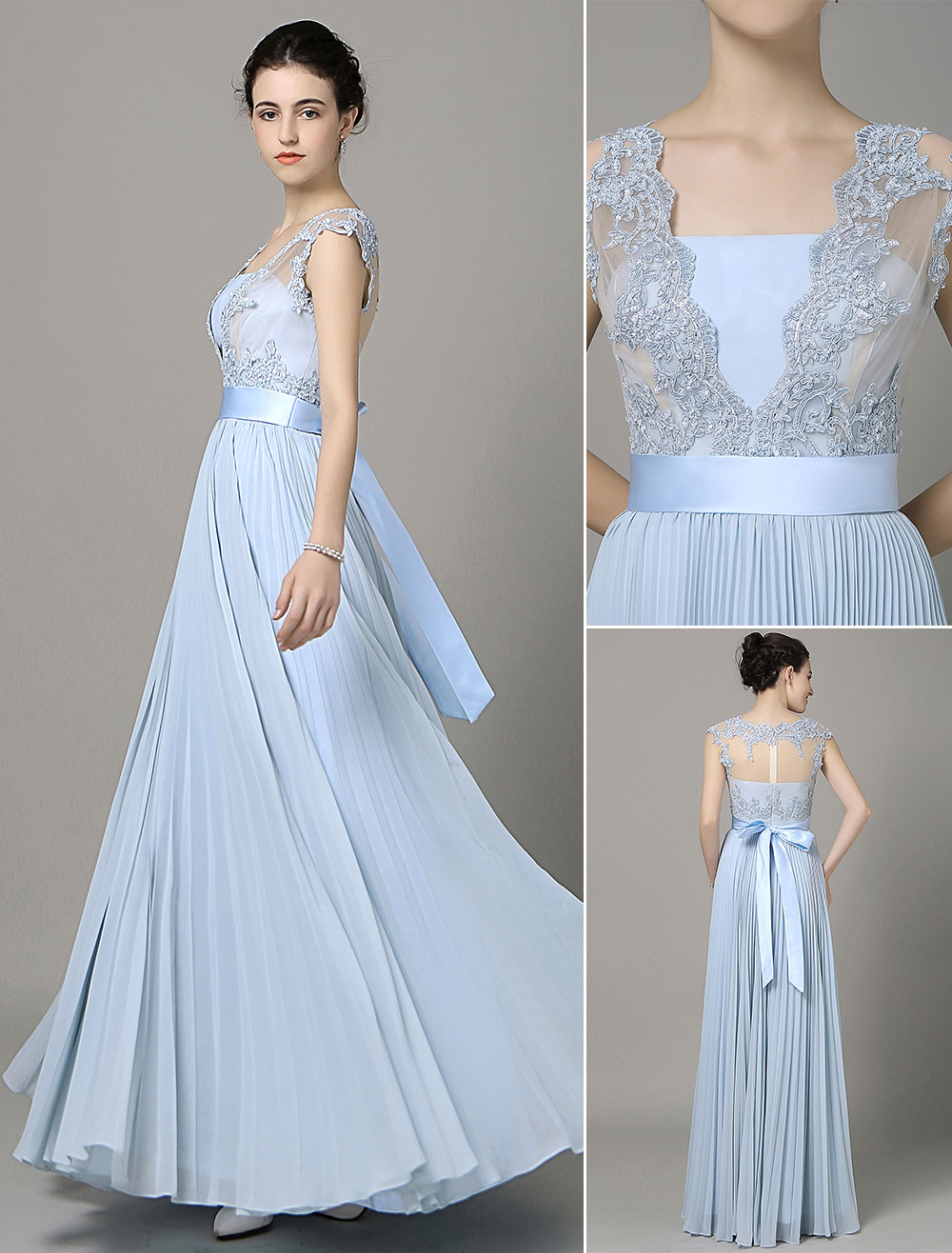 Blue Prom Dress 2018 Long Chiffon Lace Applique Bridesmaid Dress V Neck Bow Sash Pleated Floor Length Party Dress Milanoo